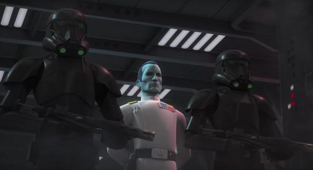 Two Death Troopers holding black weapons.