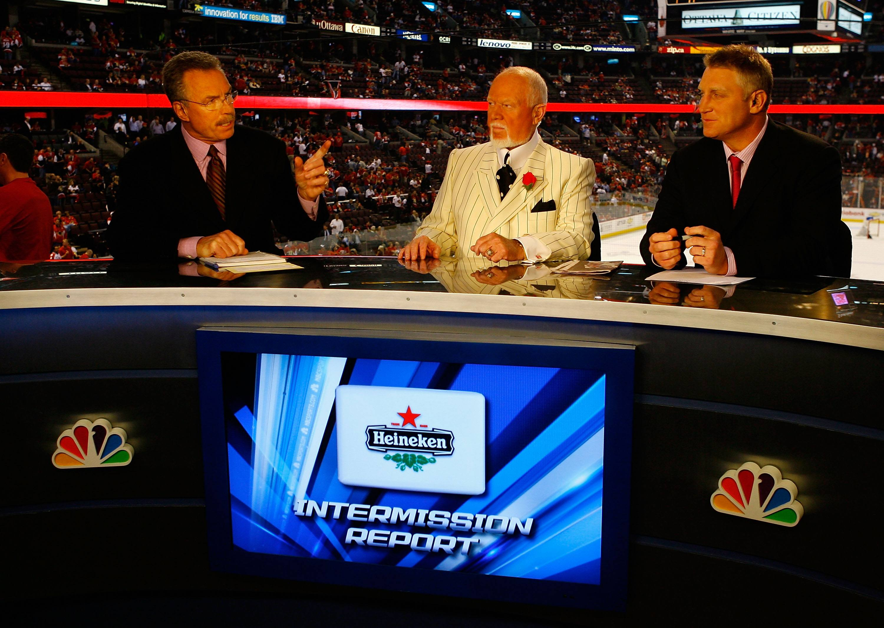 Broadcasters, (L-R) Bill Clement, Don Cherry and Brett Hull speak during the intermission show of an NHL game