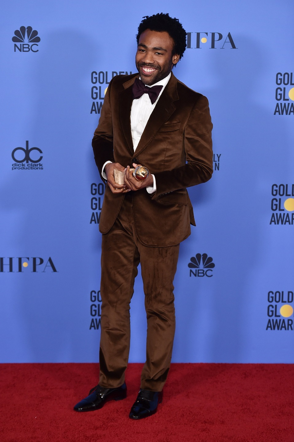 Actor Donald Glover, winner of Best Actor in a Television Series - Musical or Comedy for 'Atlanta,' poses