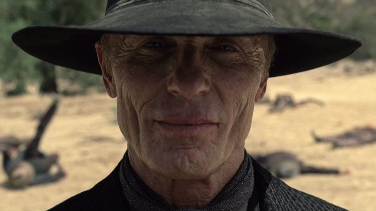 Close up of Ed Harris's face in Westworld