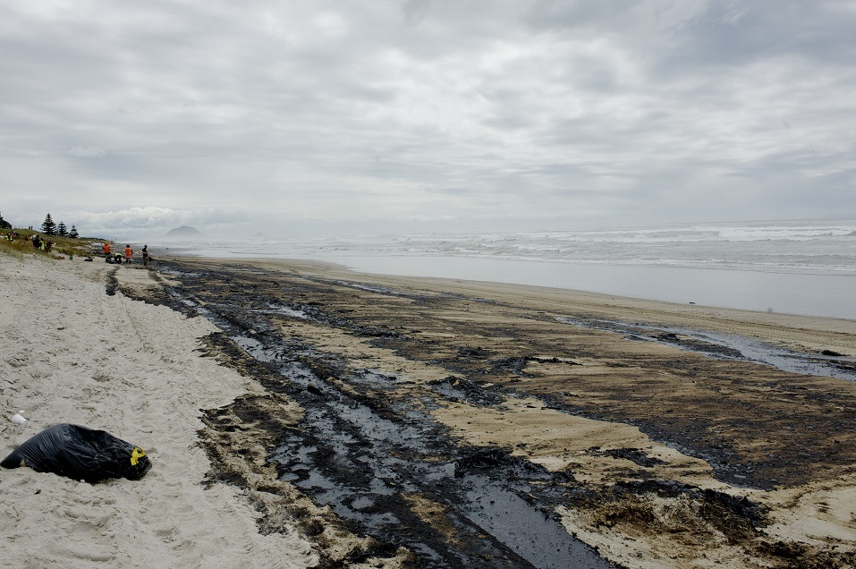 oil covers Papamoa beach in New Zealand