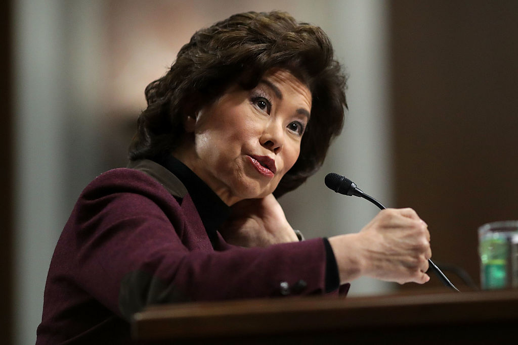 Elaine Chao testifies during her confirmation hearing to be the next U.S. secretary of transportation