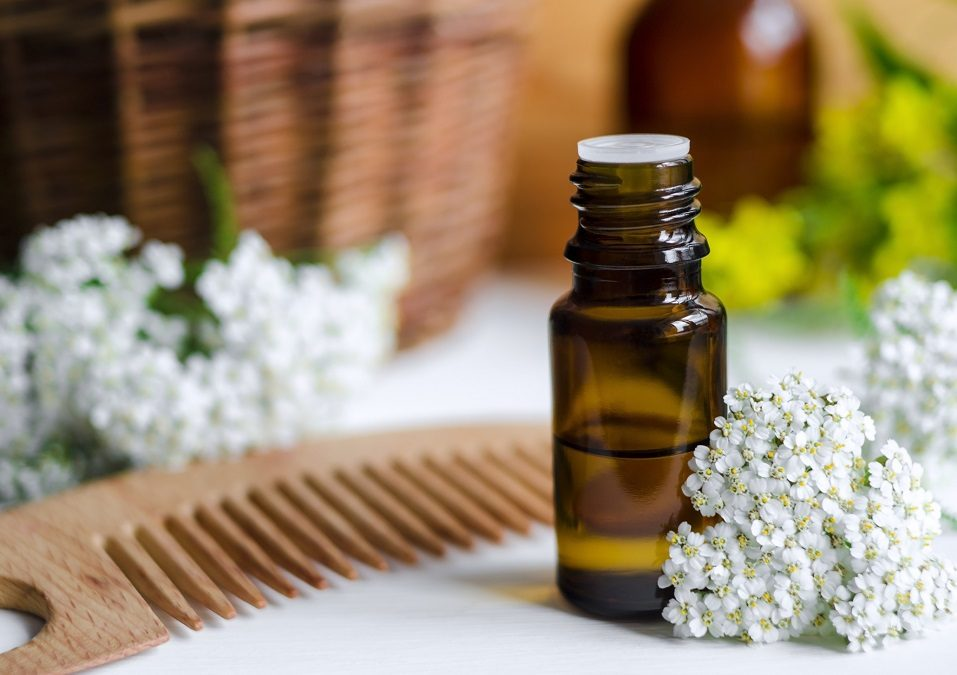 Small bottle of essential yarrow oil
