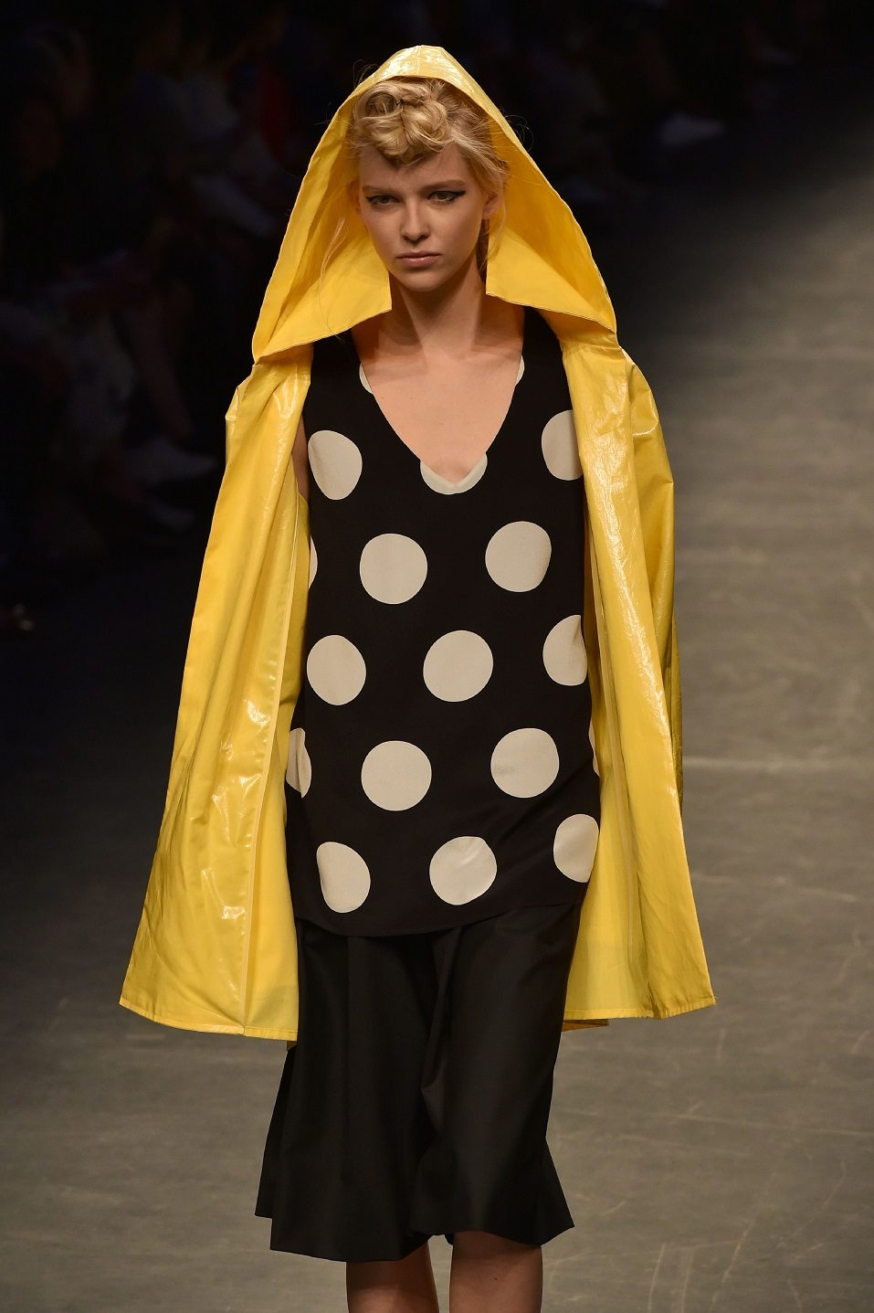 A model presents a creation for fashion house Anteprima during the 2017 Women's Spring