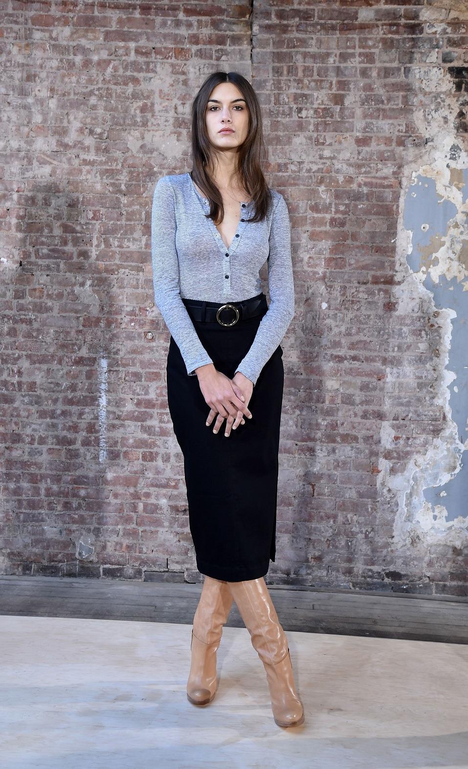 A model poses at the Frame Denim presentation during Mercedes-Benz Fashion Week