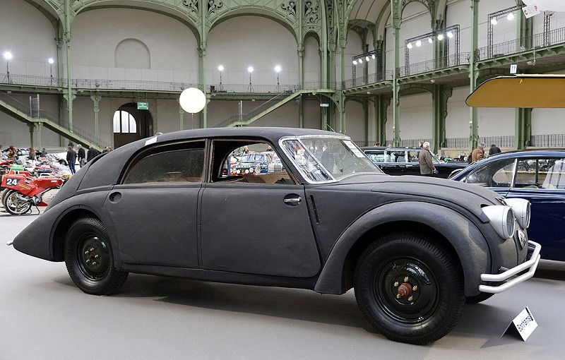 A Tatra T77A from 1936 is displayed on February 6, 2013 at the Grand Palais in Paris on the eve of an auction of luxury vintage cars. 125 vintage motor cars, 100 collection motorbikes and a 1920's Gipsy Moth plane by De Havilland, will be auctionned at Bonhams on February 7. AFP PHOTO BERTRAND GUAY (Photo credit should read BERTRAND GUAY/AFP/Getty Images)