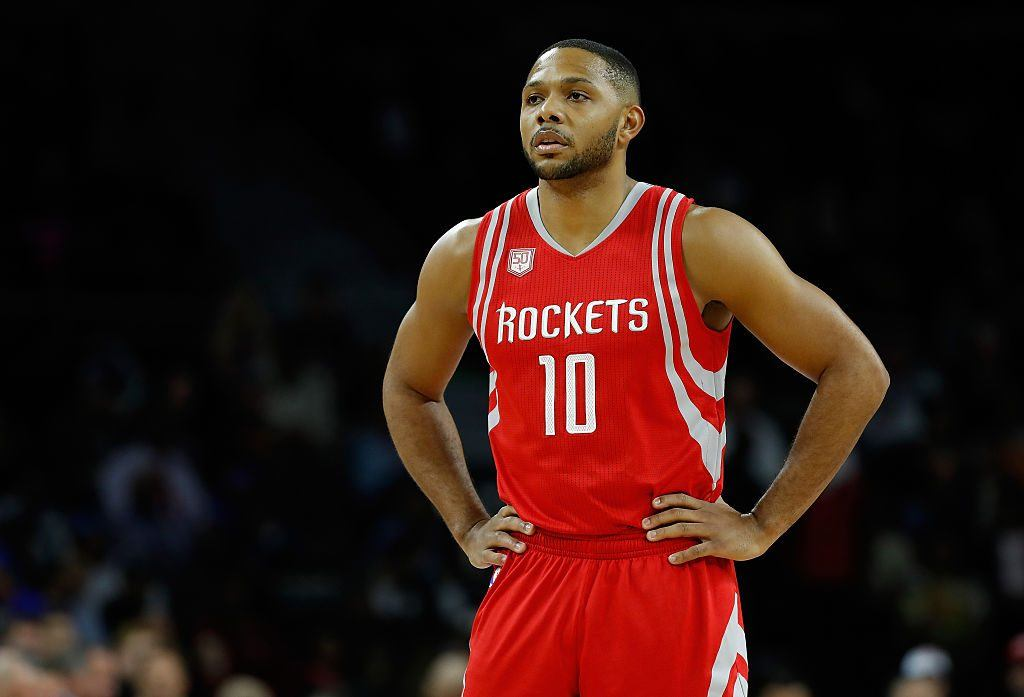 Eric Gordon of the Houston Rockets looks on while playing the Detroit Pistons