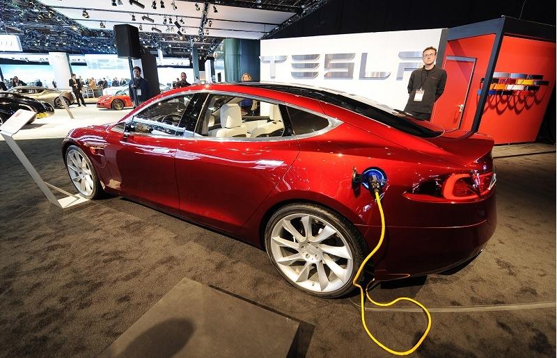 A charging Tesla Model S