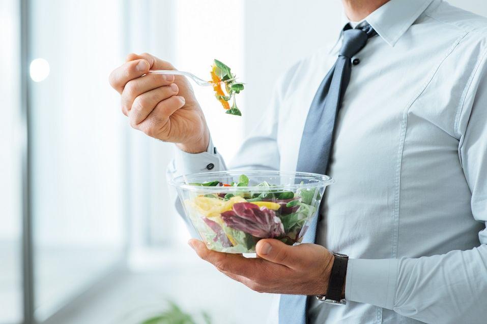 Businessman having a salad