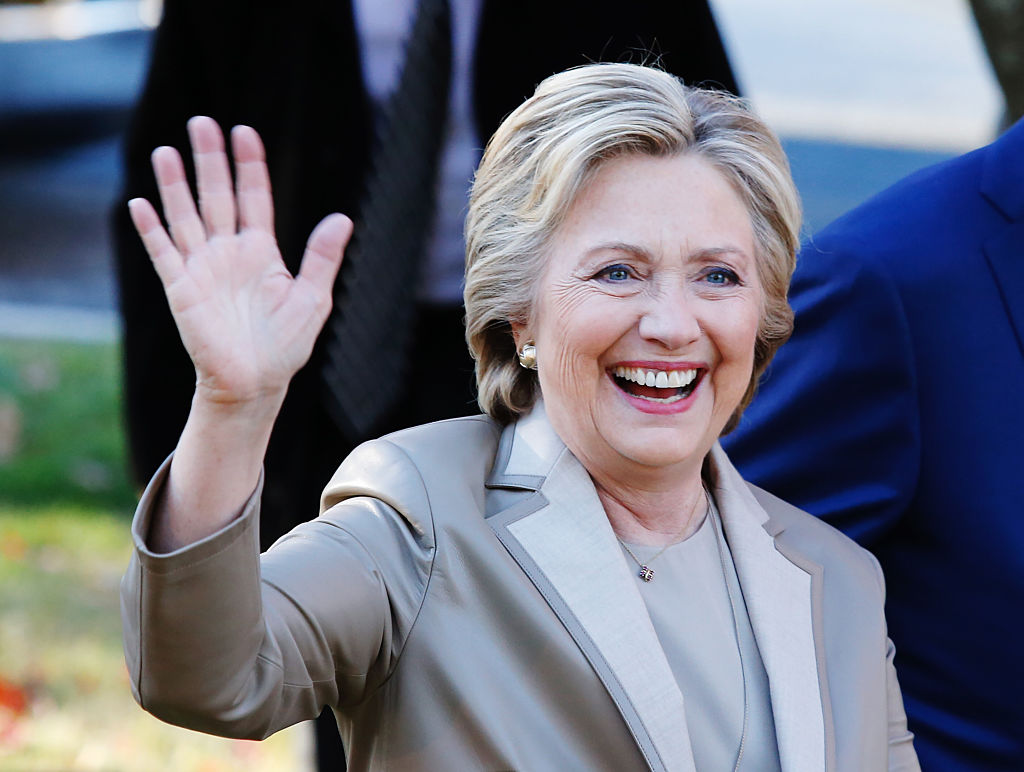 Democratic presidential nominee Hillary Clinton greets supporters