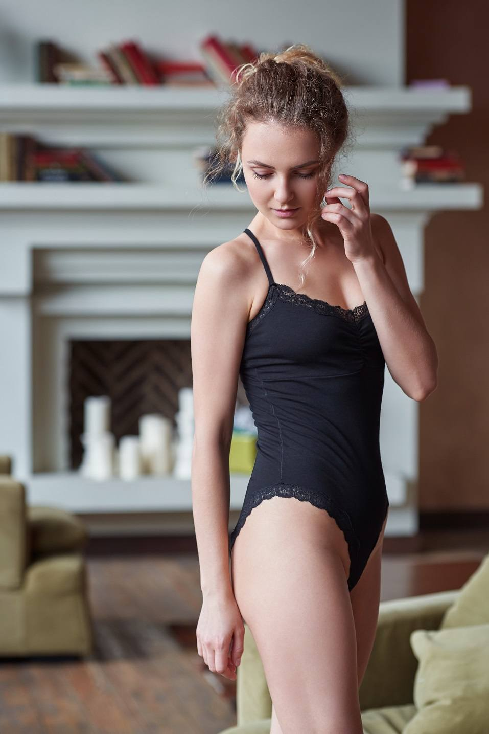 young blond sexy woman in a bodysuite