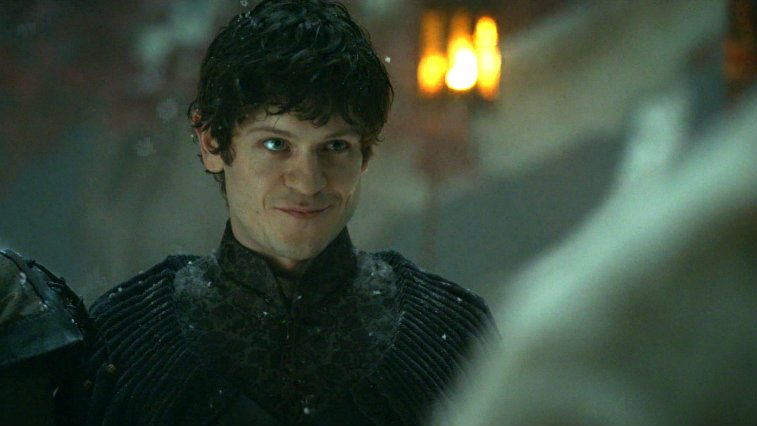 Ramsay Bolton grins menacingly in a scene from 'Game of Thrones.'