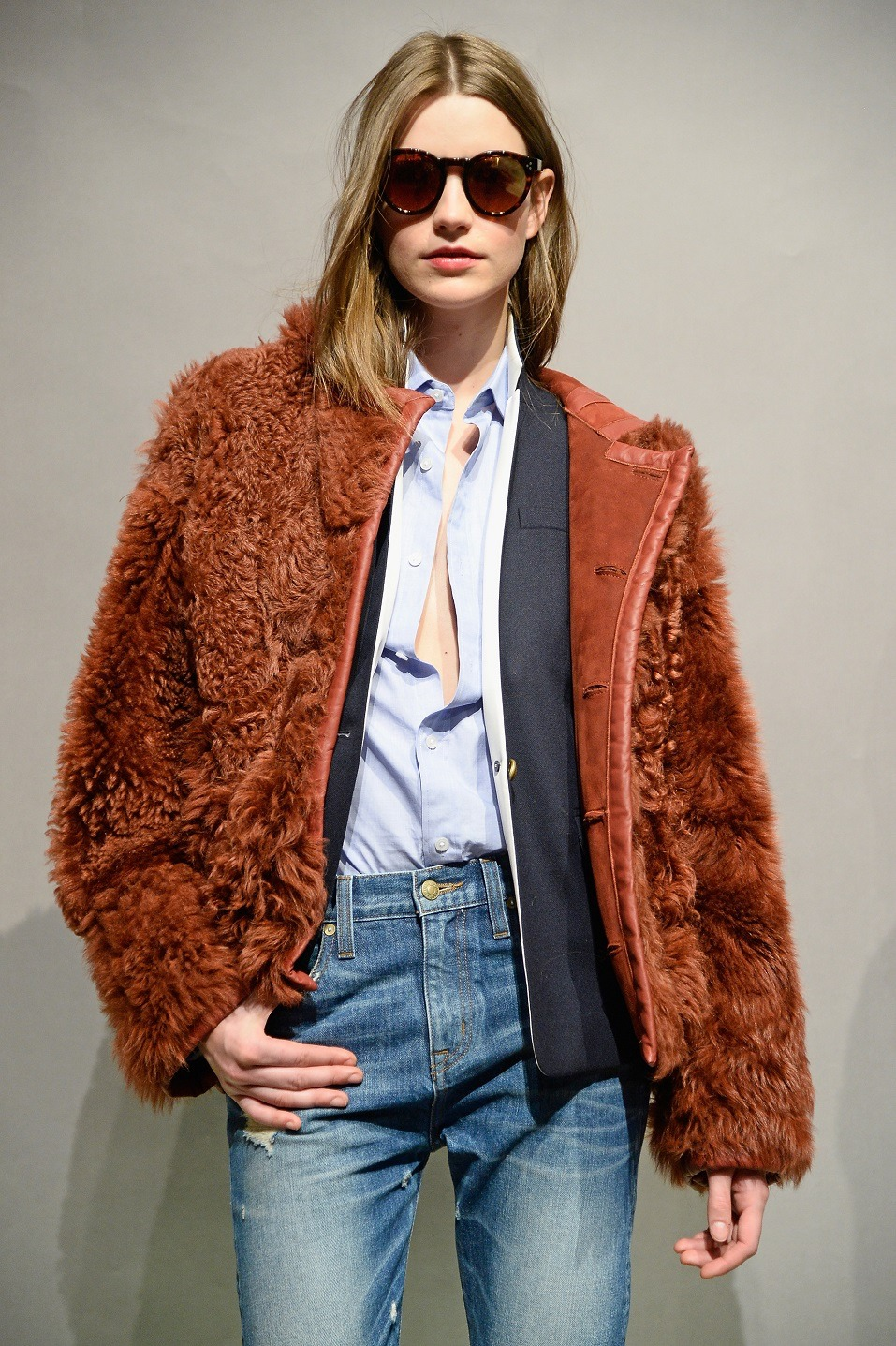 A model poses at the J.Crew presentation during Mercedes-Benz Fashion Week Fall 2015