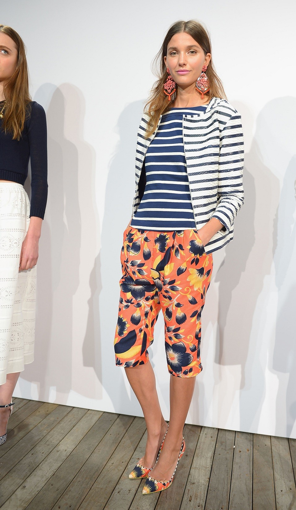 A model poses on the runway at the J.Crew presentation during Mercedes-Benz Fashion Week