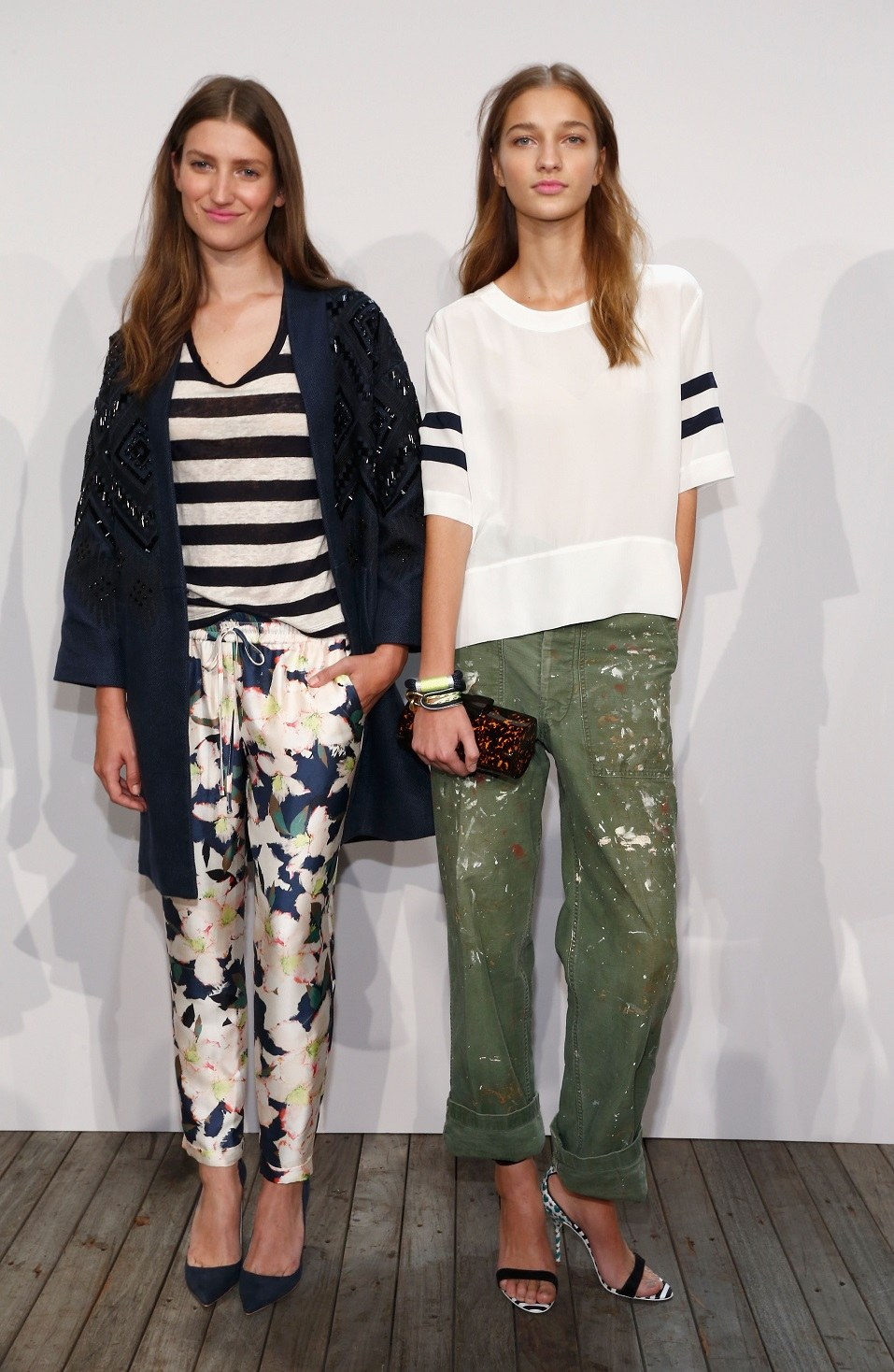 Models pose on the runway at the J.Crew presentation during Mercedes-Benz Fashion Week