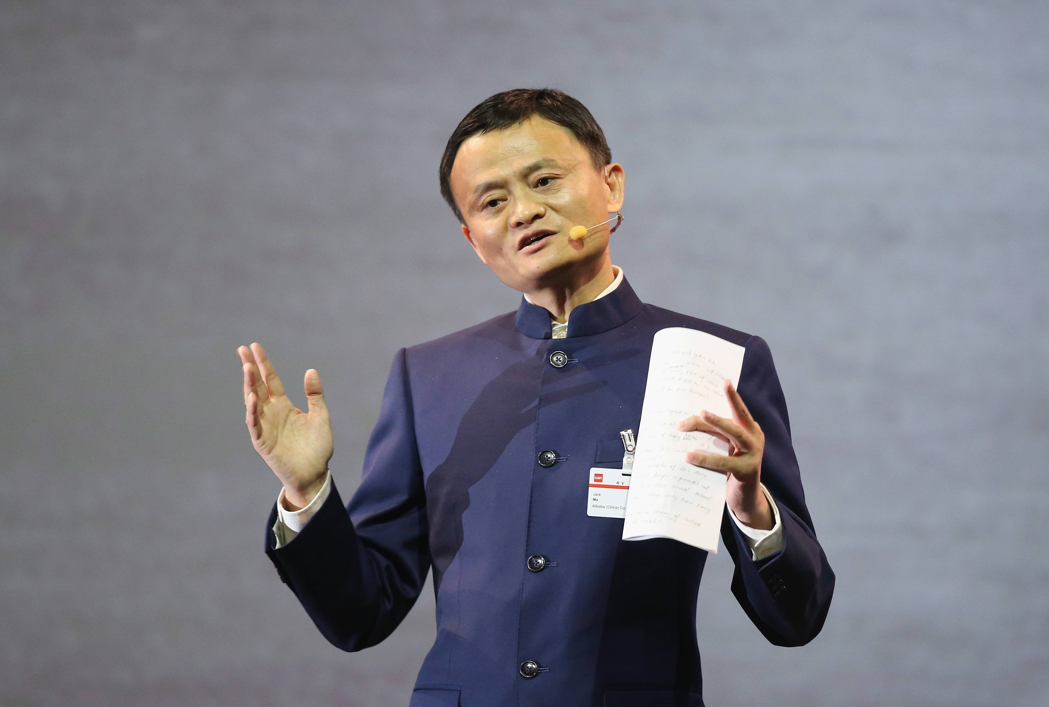 Jack Ma, founder and executive chairman of the Alibaba Group, speaks during a panel