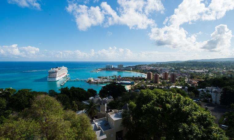 A cruise ship sails by Ocho Rios, Jamaica