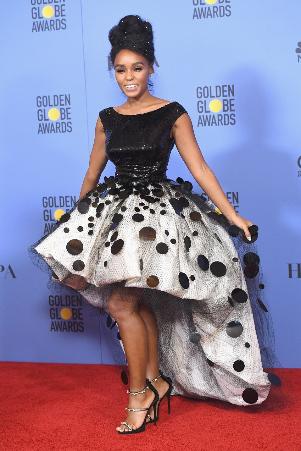 Actress Janelle Monae of 'Moonlight,' winner of Best Motion Picture - Drama, poses in the press room