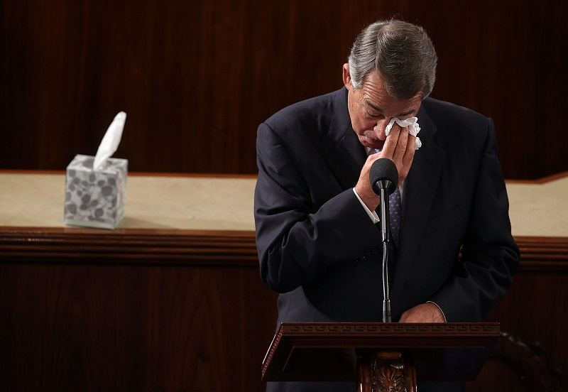 John Boehner, former Speaker of the House, crying at the podium -- one of several times he did so during his career
