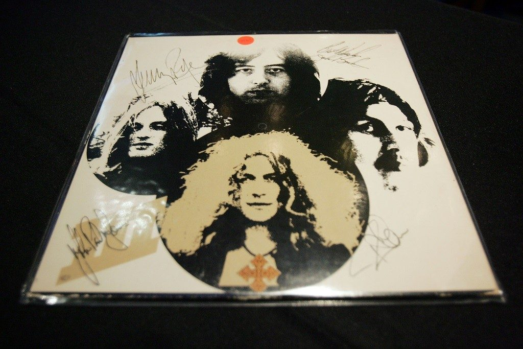 A signed Led Zeppelin album cover