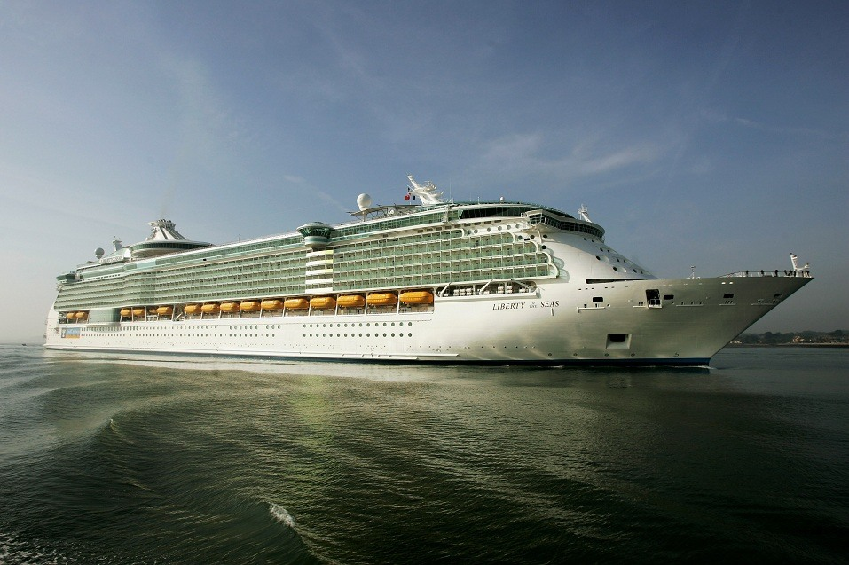 The world's largest ocean liner, the 'Liberty of the Seas' arrives at the Port of Southampton