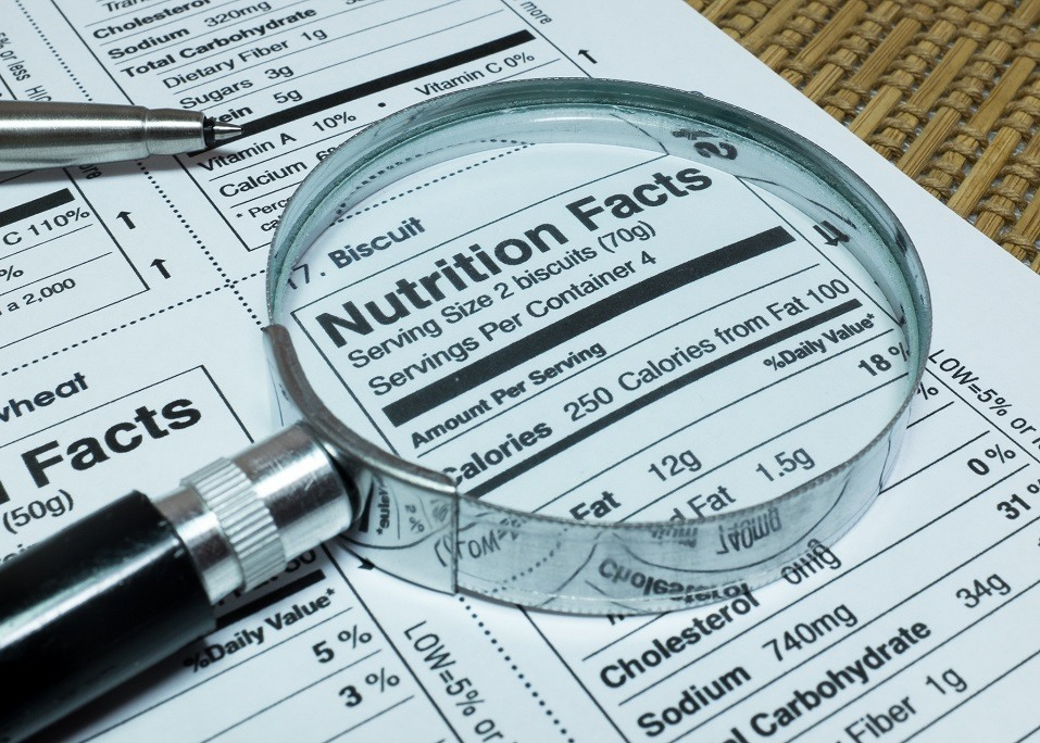 Magnifier highlighting nutrition fact label