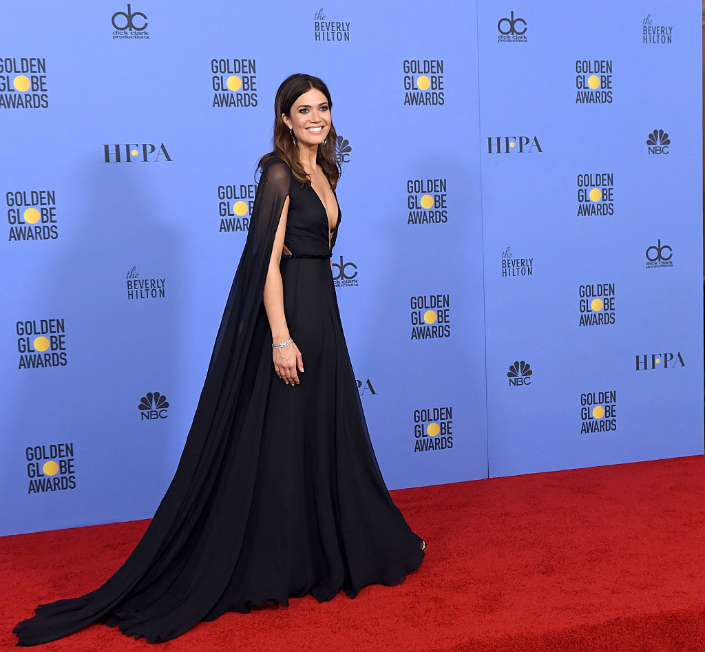 Actress Mandy Moore poses in the press room during the 74th Annual Golden Globe Awards