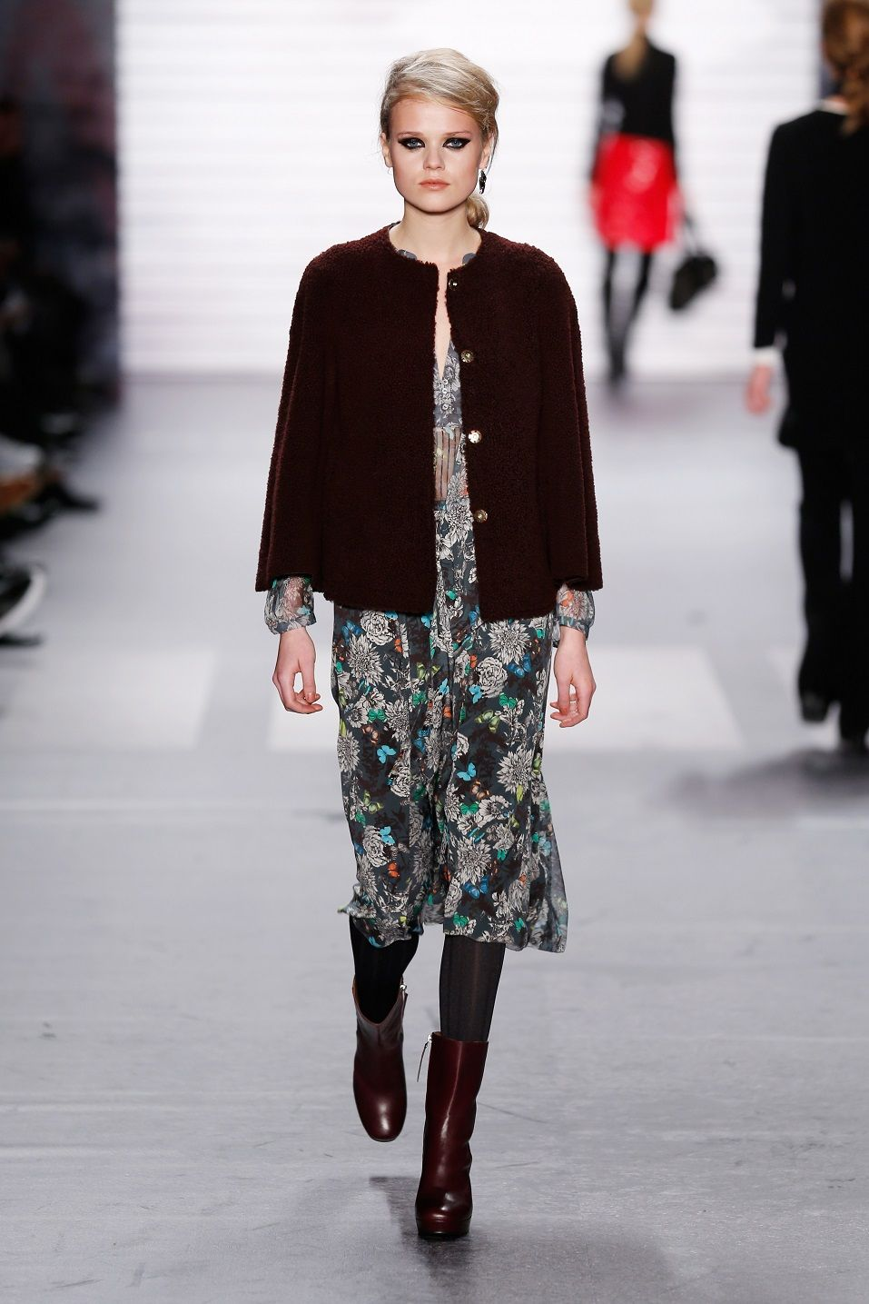 A model walks the runway at the Marc Cain show during the Mercedes-Benz Fashion Week