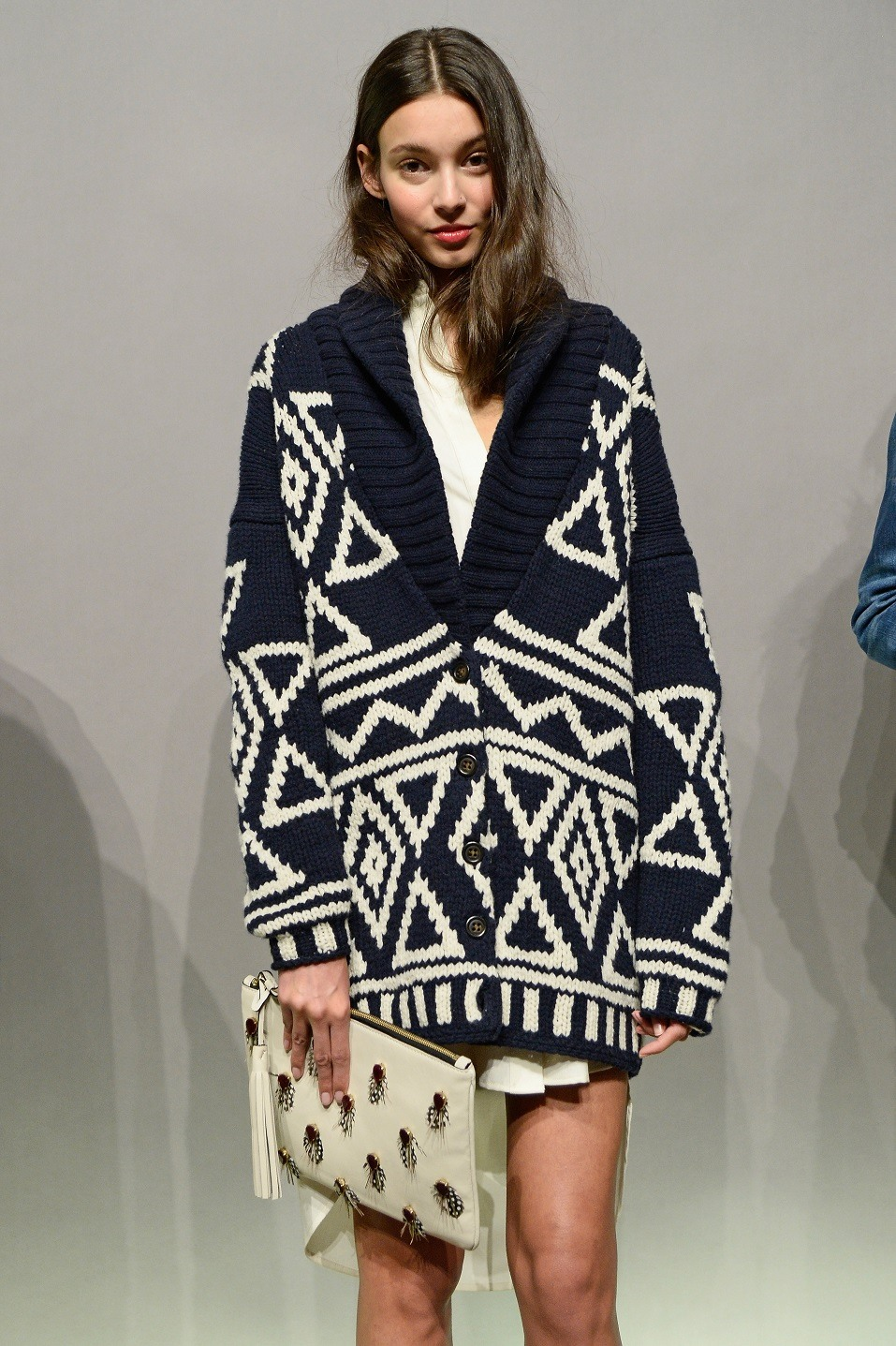 A model poses at the J.Crew presentation during Mercedes-Benz Fashion Week