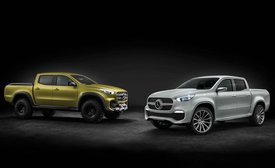 Mercedes-Benz Concept X-CLASS pickup trucks in yellow and silver