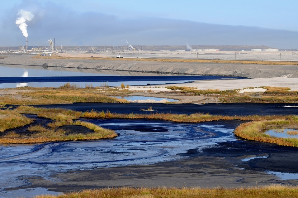 Oil mixes with water and land