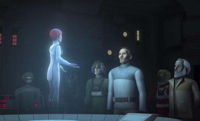 Bail Organa in a room with other characters.