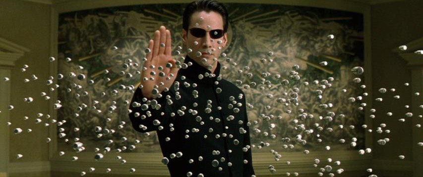 Neo stopping bullets in The Matrix