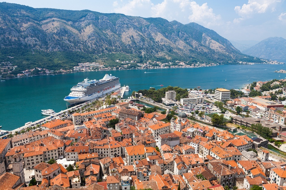 A cruise ship sails off the coast of Montenegro