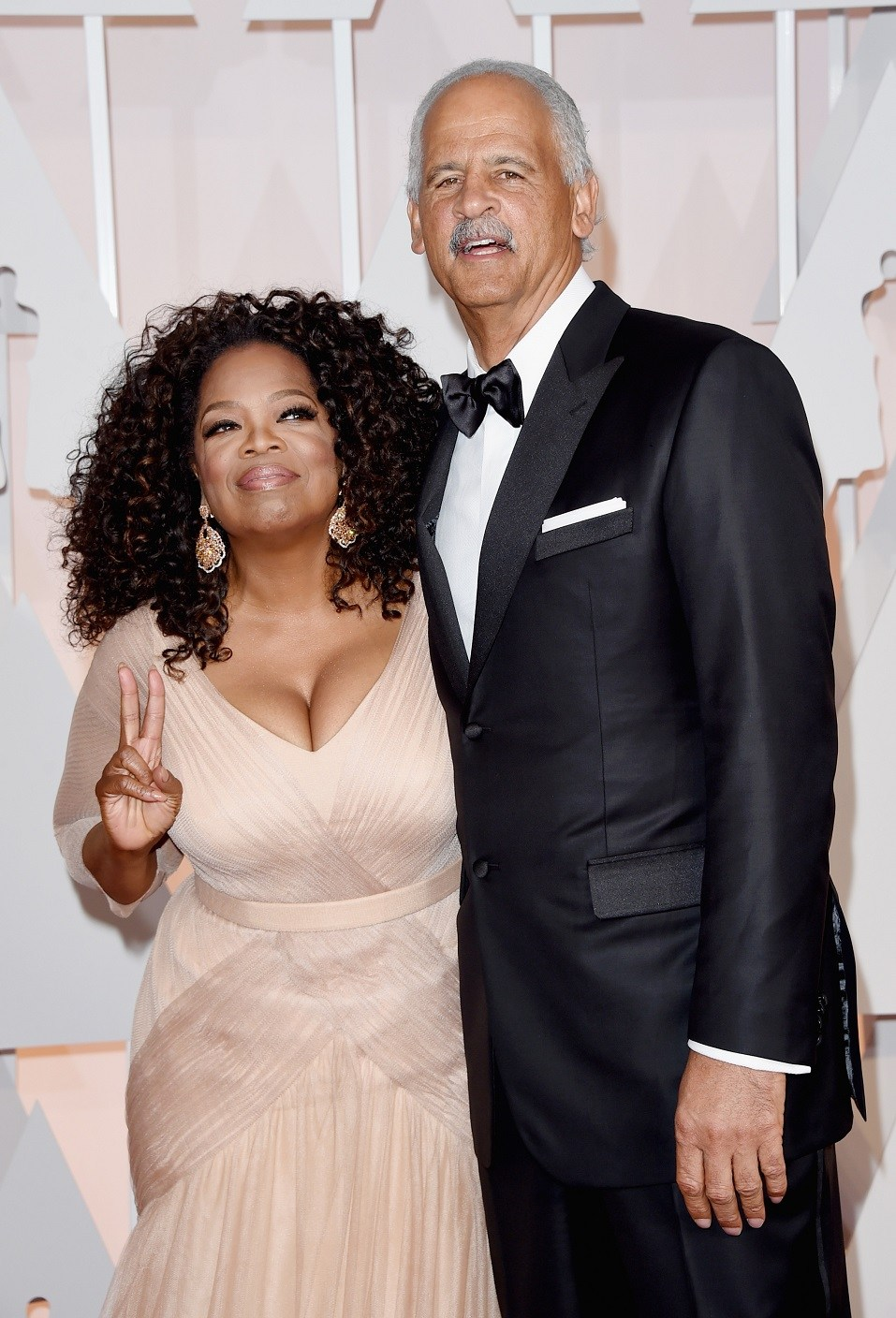 Oprah Winfrey (L) and Stedman Graham attend the 87th Annual Academy Awards
