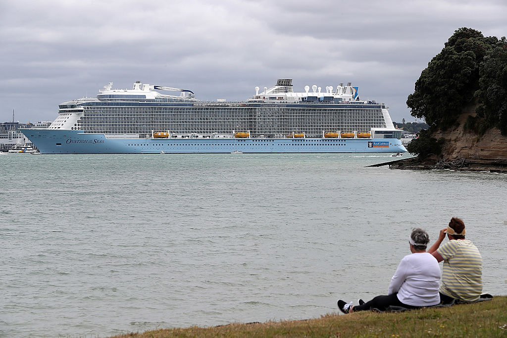 Ovation of the Seas anchored in the Waitemata Harbour