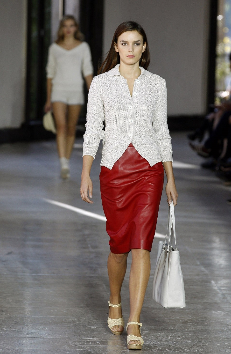 A model walks the runway during the Agnes B show as part of the Paris Fashion Week