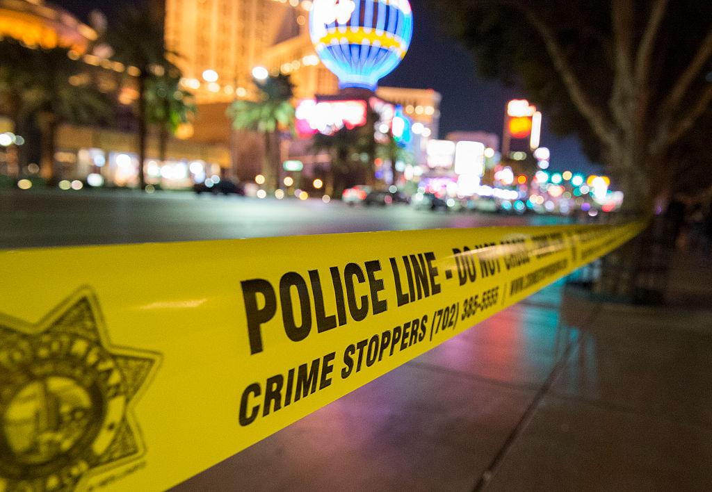 police tape on Las Vegas strip