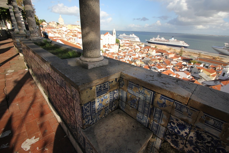 The Port of Lisbon seen from a vantage point in Portugal
