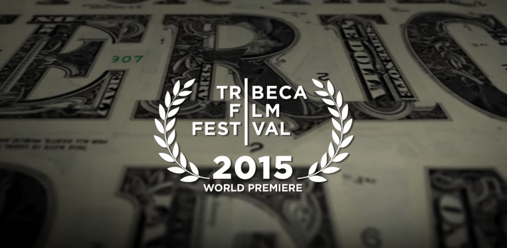 Close-up image of a dollar bill with Tribeca Film Festival 2015 emblem on it