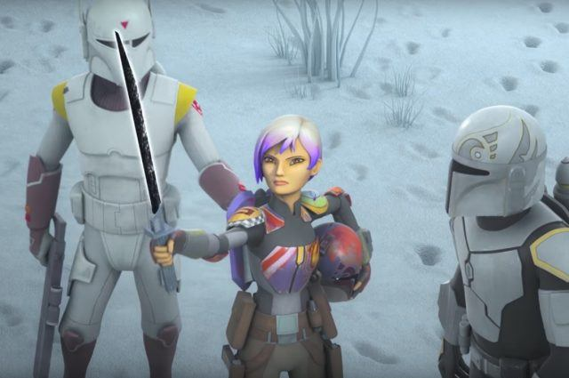 Sabine holds the Dark Saber while standing between two Stormtroopers on 'Star Wars Rebels'.