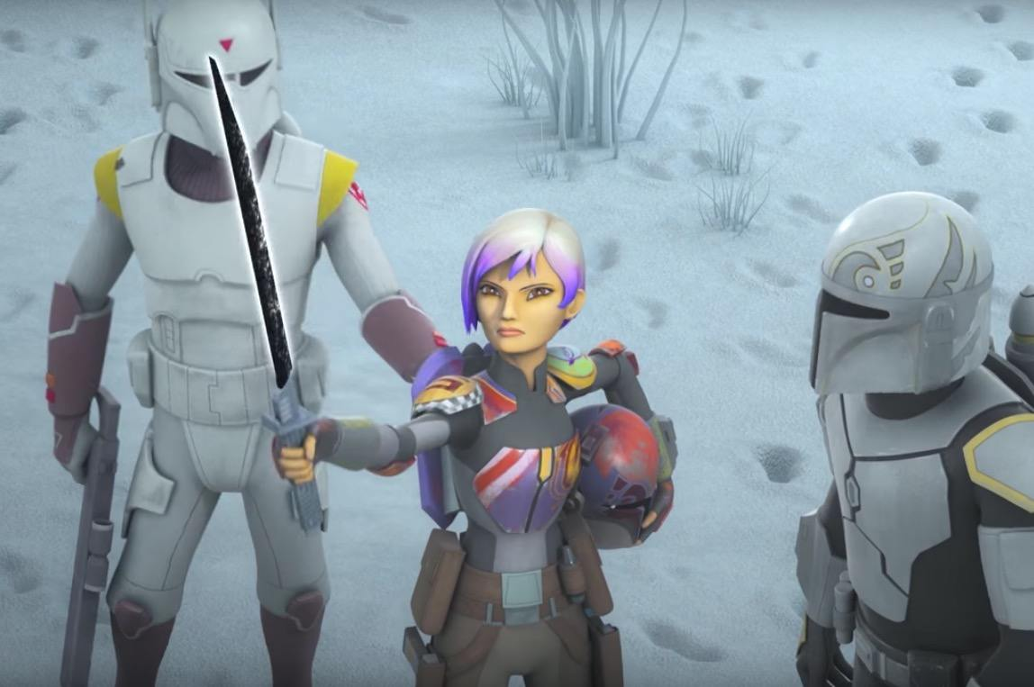 Sabine and the Dark Saber on Star Wars Rebels