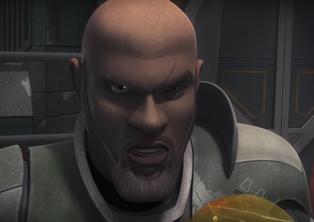 Saw Gerrera looks ahead with an angry glare in Star Wars Rebels