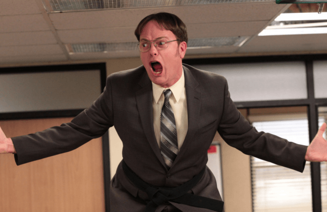 Dwight from The Office yells
