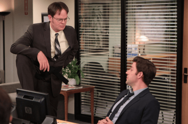 "Dwight and Jim talking in ""The Office"""