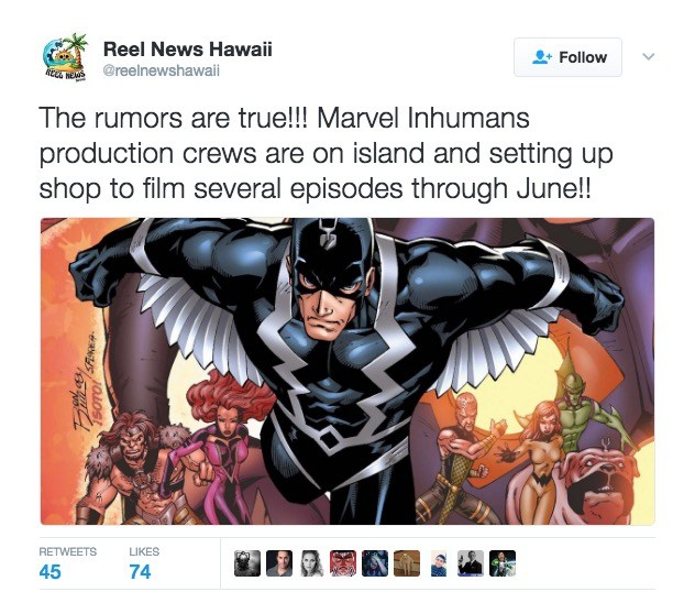 Repors that the Inhumans is filming in Hawaii, per Twitter