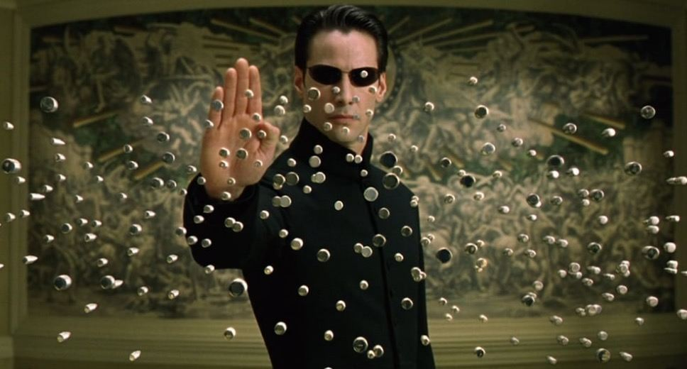 Neo stops hundreds of bullets in mid-air in 'The Matrix Reloaded'