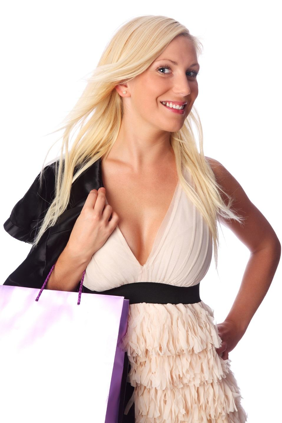 Young blonde woman wearing a dress