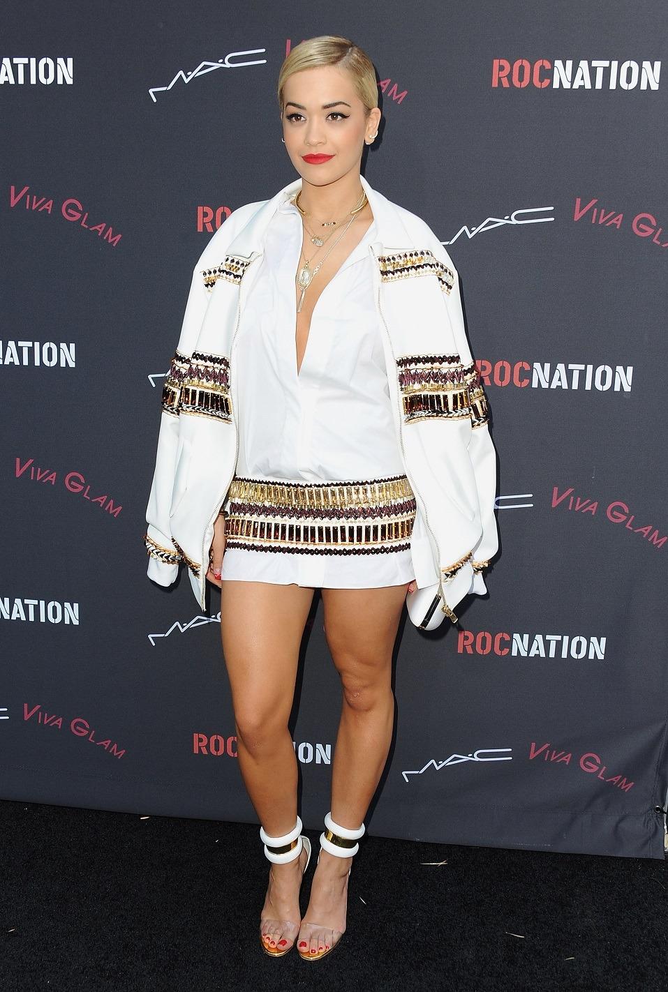 Singer/songwriter Rita Ora arrives at the Roc Nation
