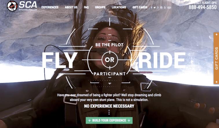 Screenshot from the Sky Combat Ace website